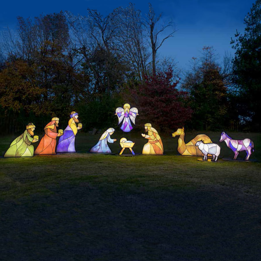 Illuminated stained glass nativity set 10 pieces stained glass nativity workwithnaturefo