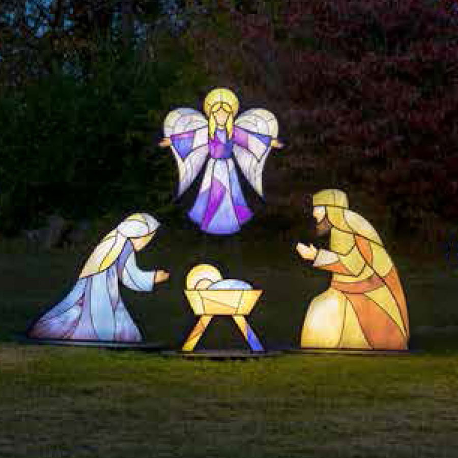 Illuminated stained glass nativity made in america stained glass manger scene illuminated holy family workwithnaturefo