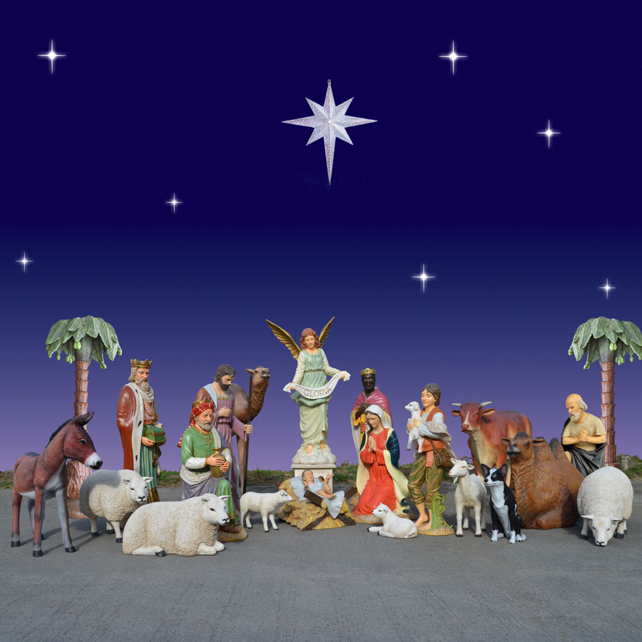 Huge outdoor nativity with animals 6 ft scale for Outdoor christmas scenes