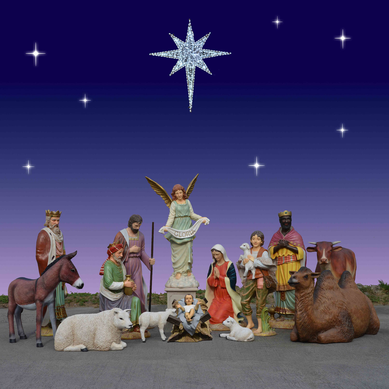 Holiday nativity scenes and sets christmas night inc giant outdoor nativity scene 6 foot scale 14 pc workwithnaturefo