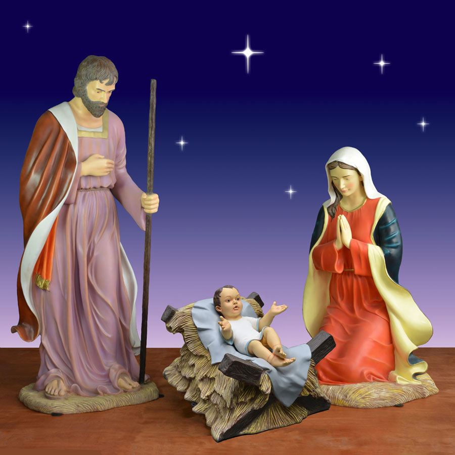 Set Of 3 Metal Christmas Carolers Outdoor Yard Display: Outdoor Holy Family 3-Piece Set