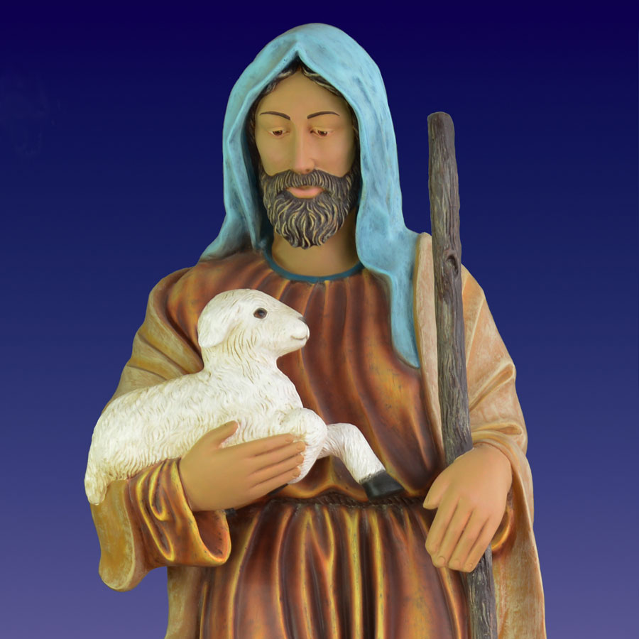 Giant Nativity Shepherd with Lambs