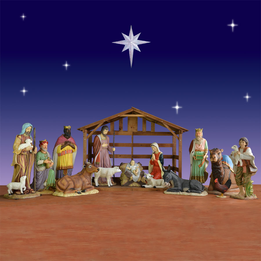 Holiday nativity scenes and sets christmas night inc outdoor creche scene 14 piece and stable 54 scale workwithnaturefo