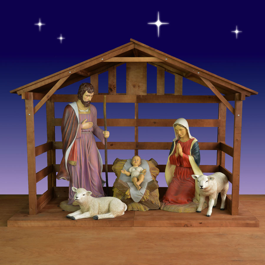 Holy Family With Sheep And Lamb In Stable