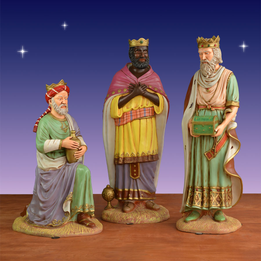 Set Of 3 Metal Christmas Carolers Outdoor Yard Display: Three Kings Life-Size Figures