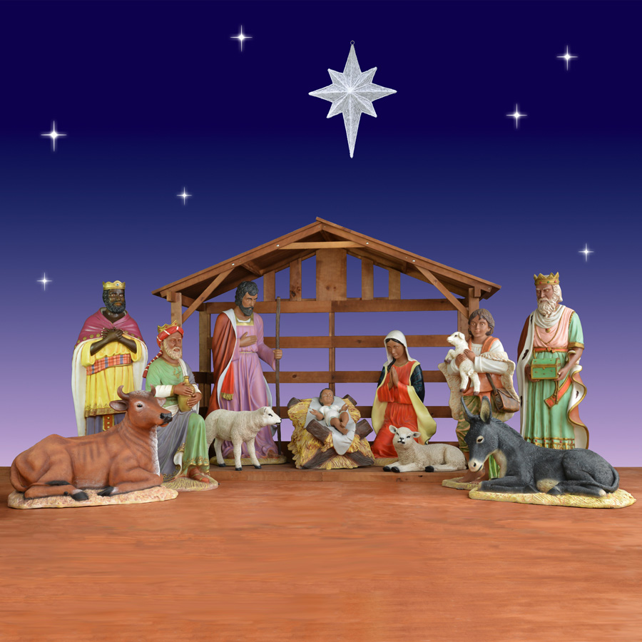 African American Life Size Nativity Set 12 Pieces