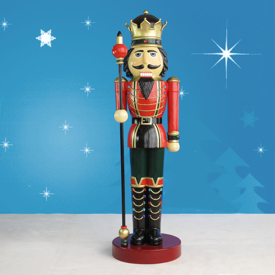 Life sized nutcracker king with scepter on drum 9 39 for 4 foot nutcracker decoration