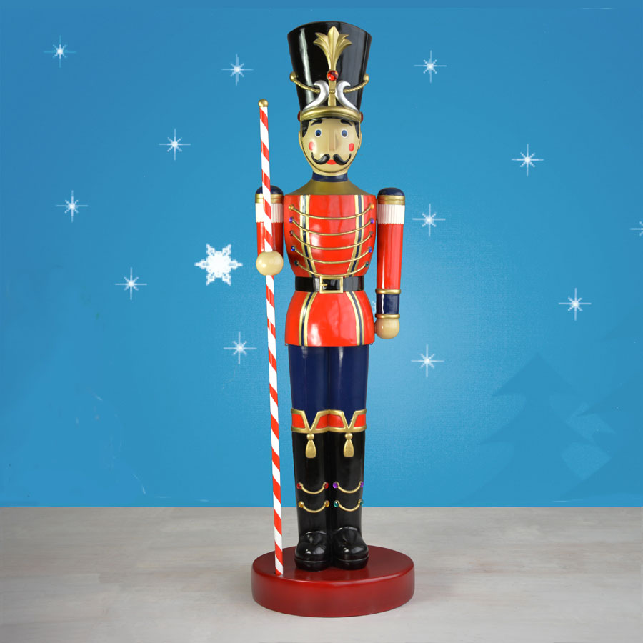 9-ft. Toy Soldier Statue On Drum With Striped Baton