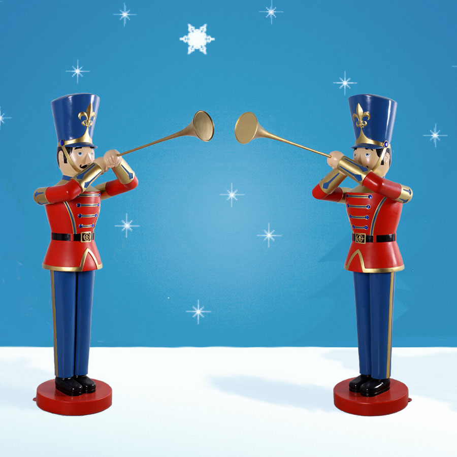 Christmas Toy Soldiers : Heinimex life sized toy soldier with trumpet pair
