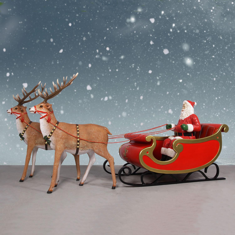 Jumbo Sleigh with Santa & Reindeer - 132in. Santa Display