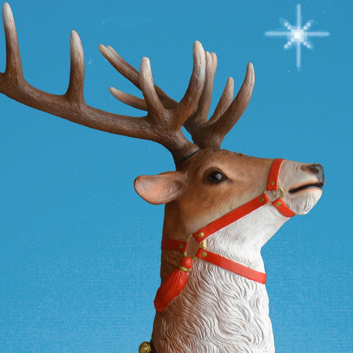 120in Wide Giant Santa Sleigh Two Reindeer Set