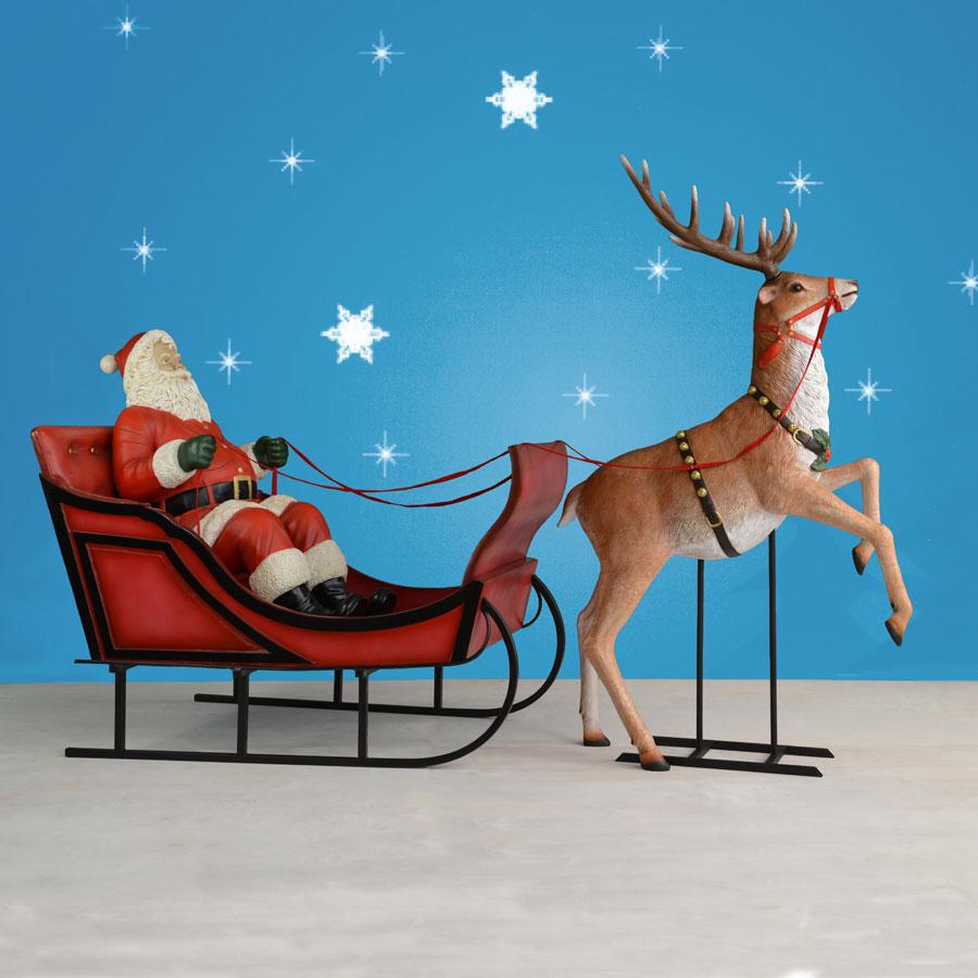 Set Of 3 Metal Christmas Carolers Outdoor Yard Display: 120in. Wide Life-Sized Sleigh & Rearing Reindeer