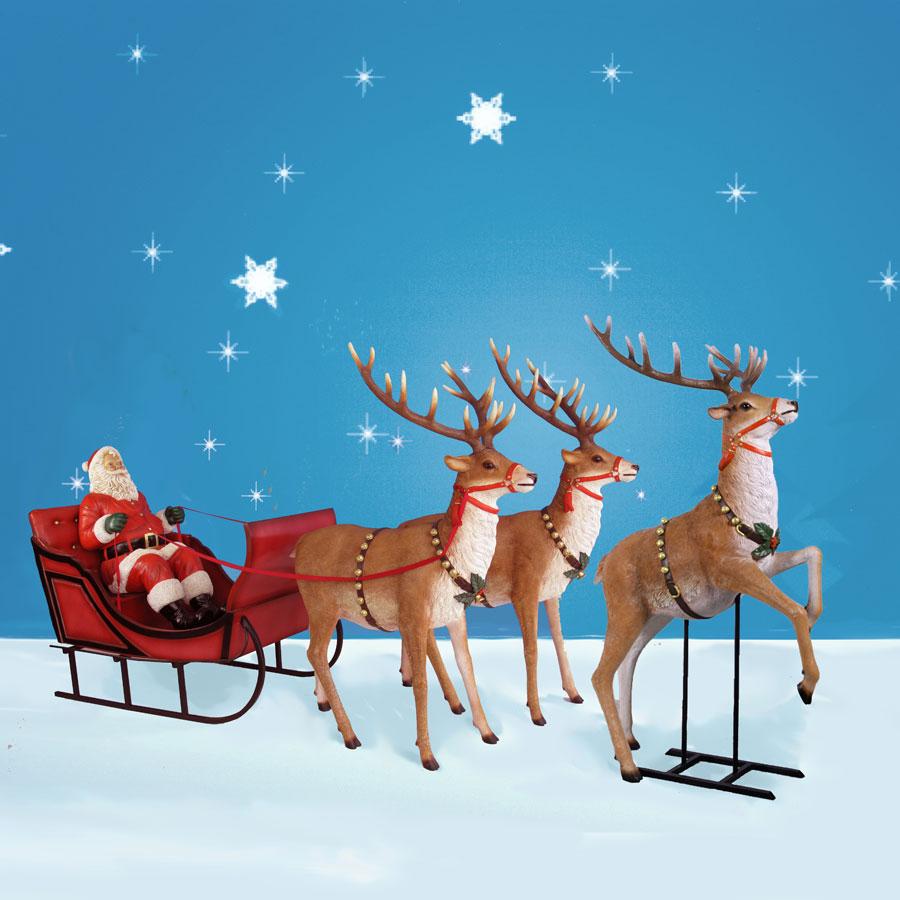 Giant santa sleigh and three reindeer 170 inch wide