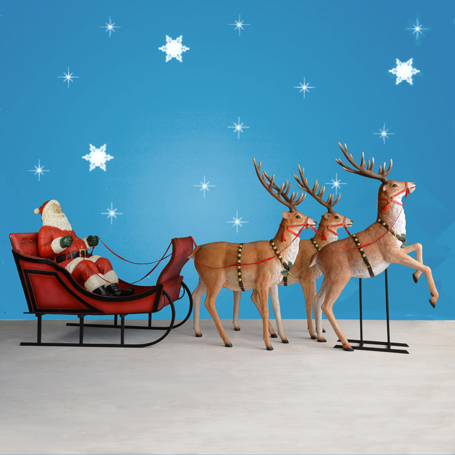 Life Size Santa with Sleigh and reindeer - 170
