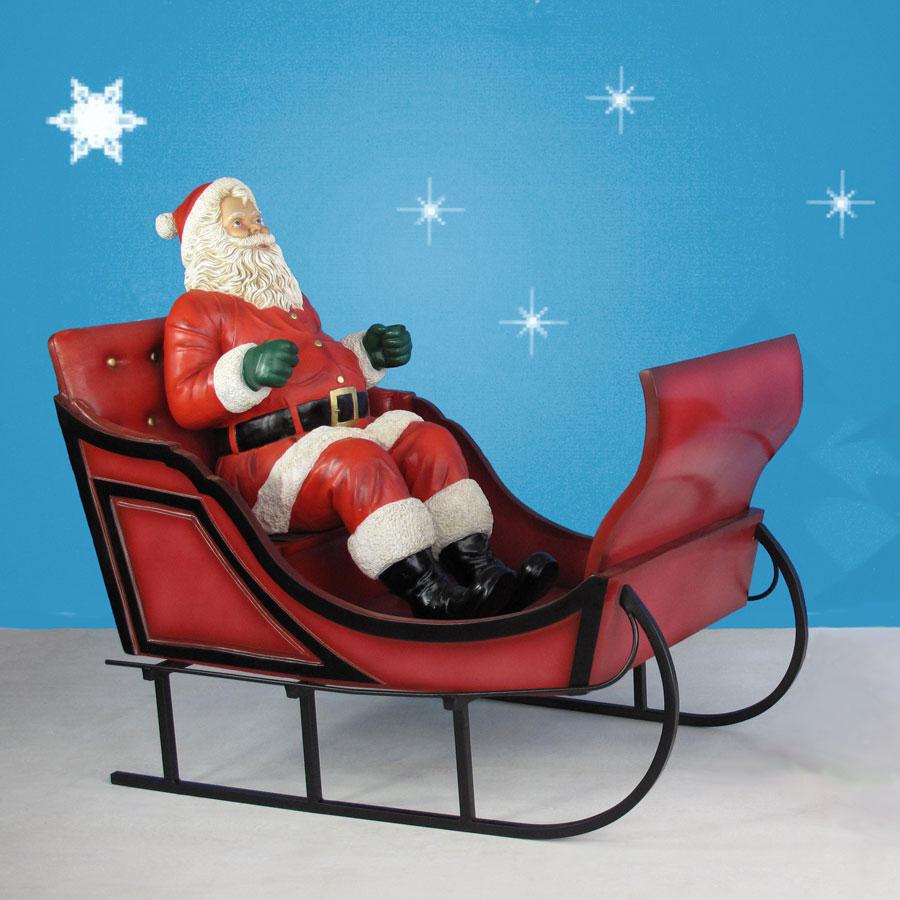 "Christmas Decorations Life Size Santa: 60"" Long Giant Santa With Sleigh Decoration"