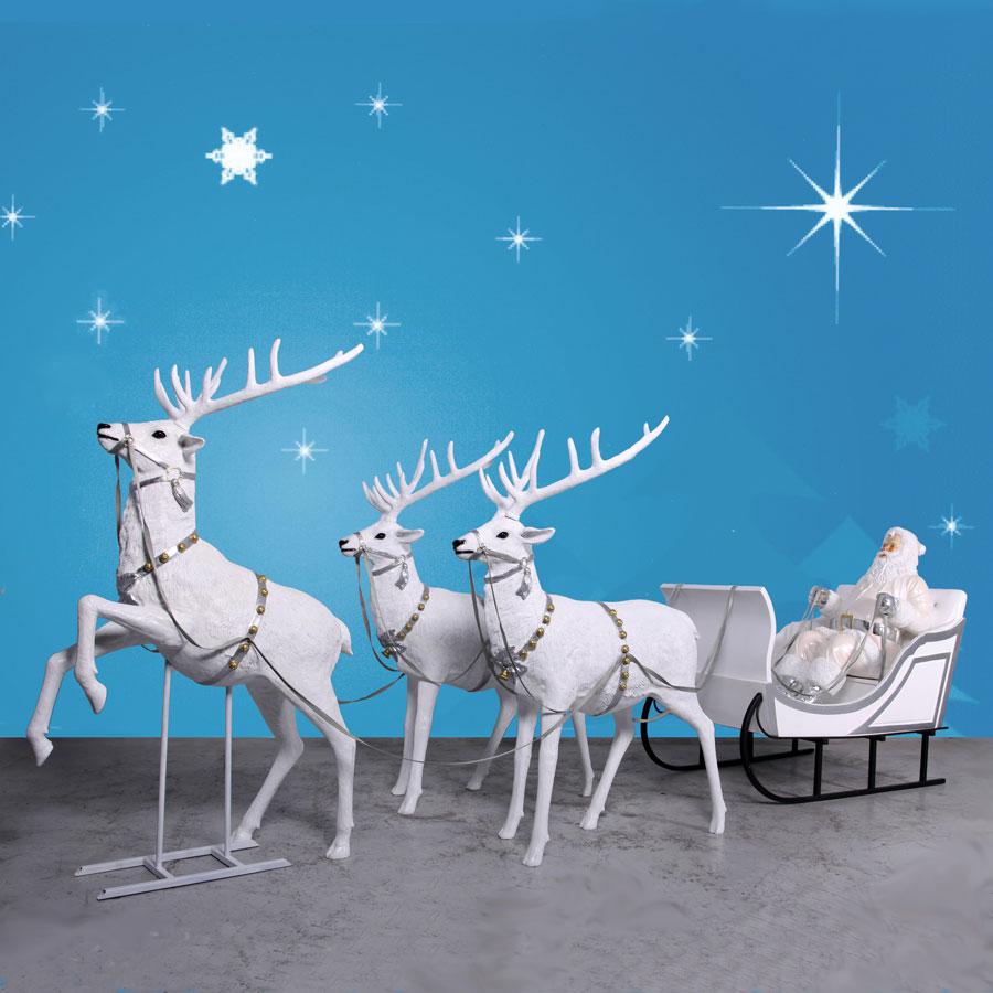 170 Quot Wide Giant Snow Santa Sleigh Amp Three Reindeer