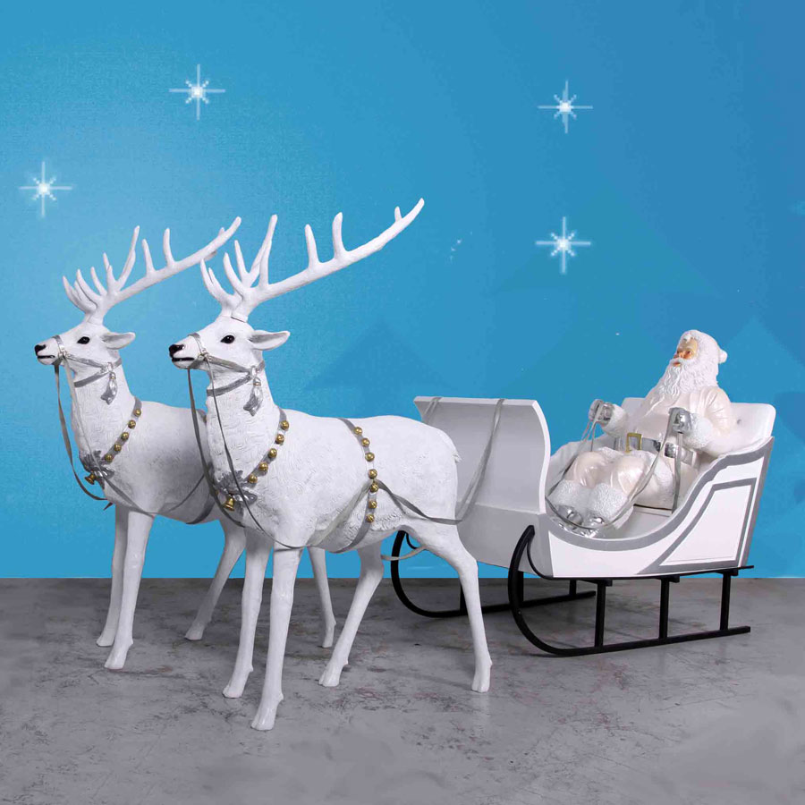 Santa with Sleigh and two reindeer - Outdoor Santa Sleighs And More - ChristmasNightInc.com