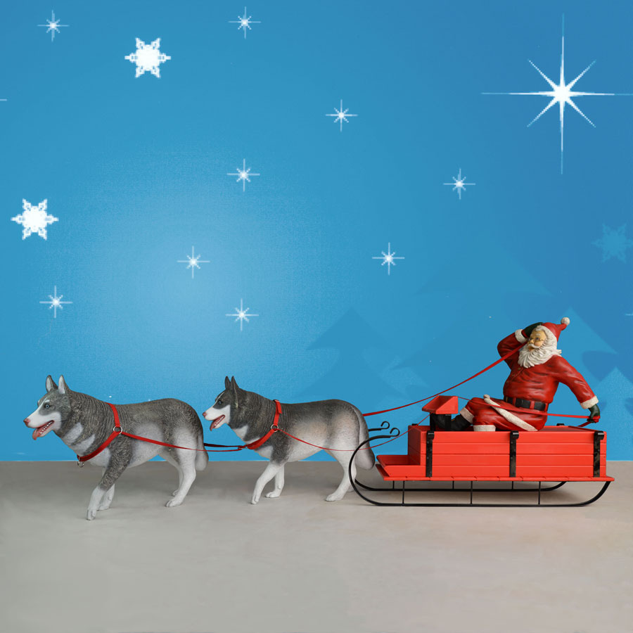 Huskies Pulling Sled Husky Sled And Santa