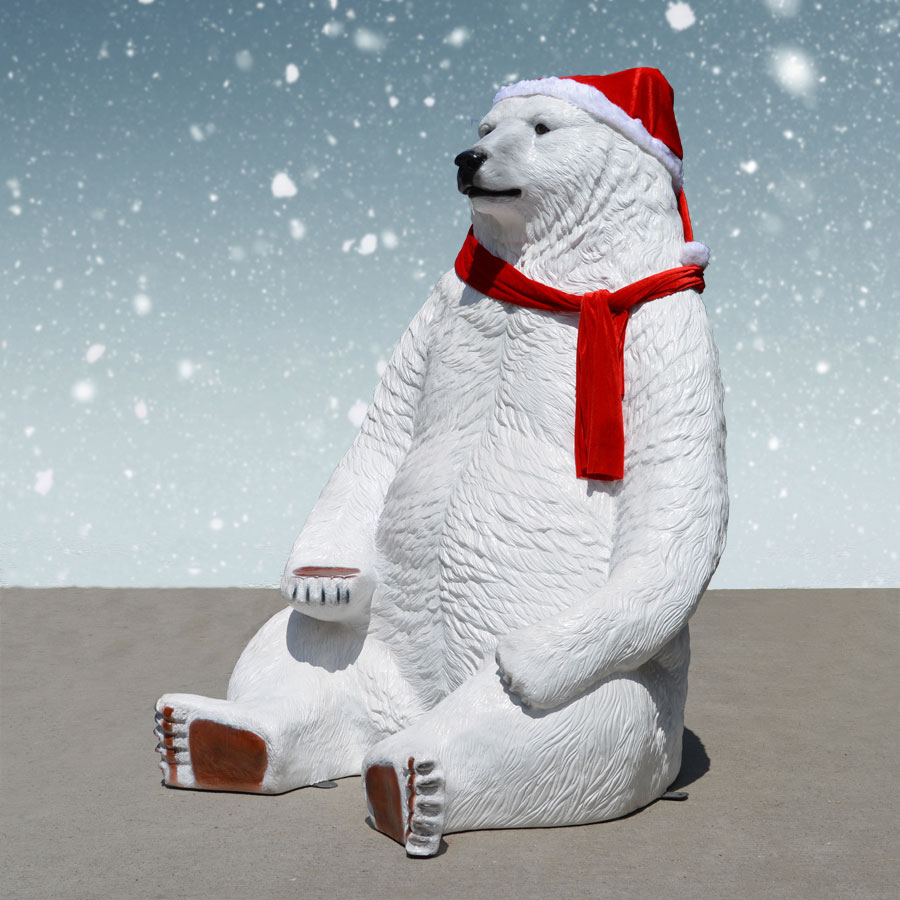 Polar Bear with scarf and hat