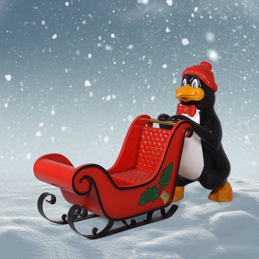 Outdoor Penguin and Sleigh