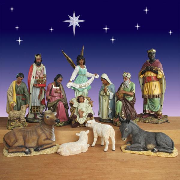 "Set Of 3 Metal Christmas Carolers Outdoor Yard Display: 11 Piece (Fiberglass 54"" Scale"