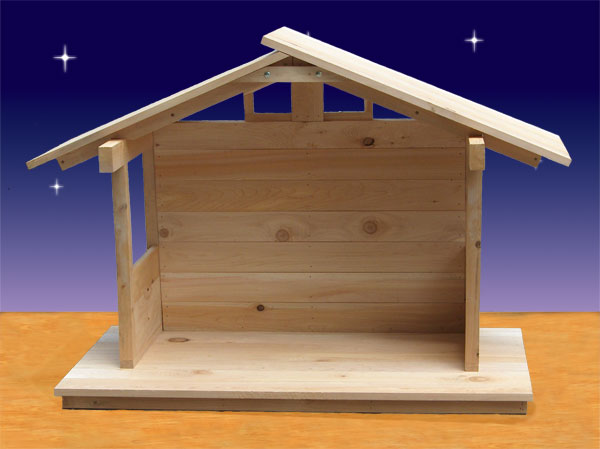 Wood nativity stable outdoor 37 high Dimension table a manger