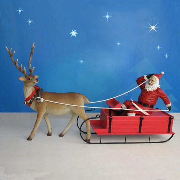115 quot long yab designs outdoor santa sleigh amp reindeer