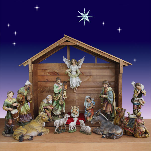 "Artisan Nativity 30"" 15 figs. with Outdoor Nativity Stable 55"""