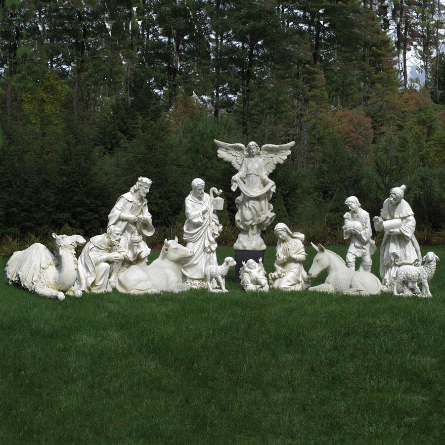 Nativity set 40 quot scale ivory 13 piece from josephs studio