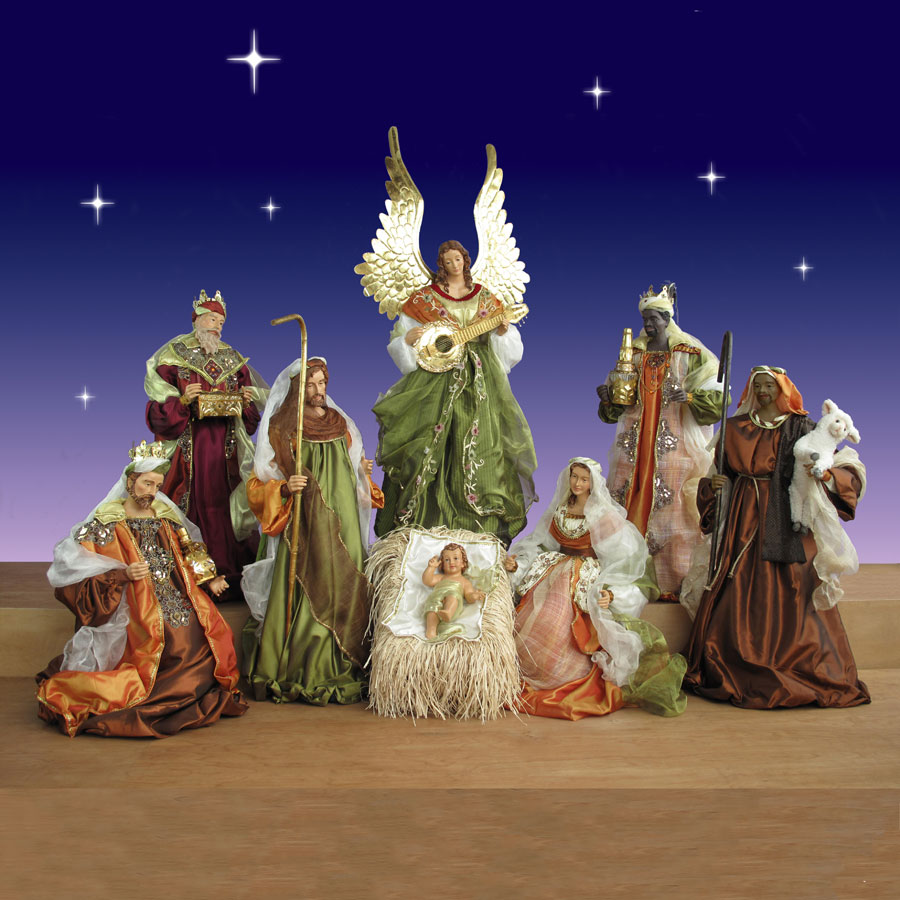 Church Nativty Set In Resin And Fabric 42in Scale 9 Piece