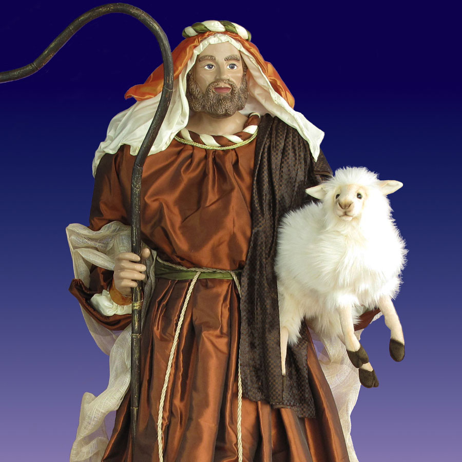 life size shepherd figurine with lamb