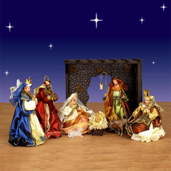 Alriver Nativity Set W Hut Resin Fabric 14in Scale