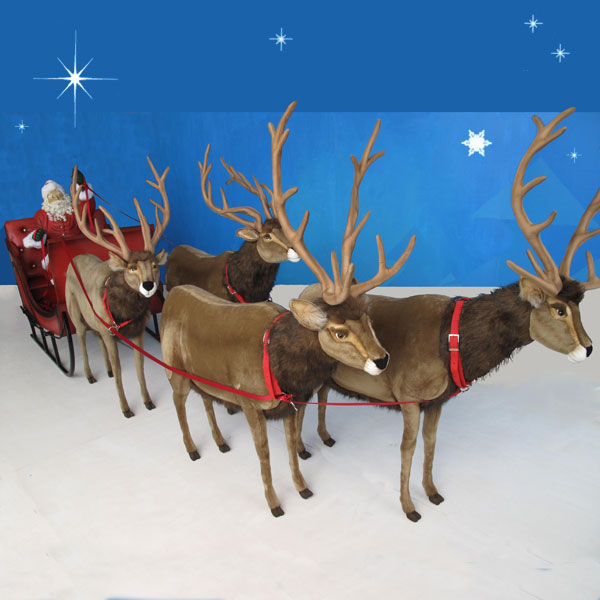 Life sized santa sleigh four reindeer 65 for Decoration 4 life