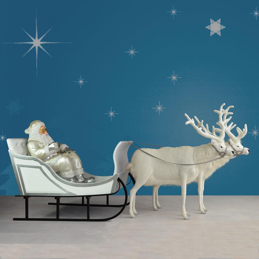 120in Wide Giant Santa Sleigh Two Reindeer Set: Giant Santa, Sleigh & Two Reindeer