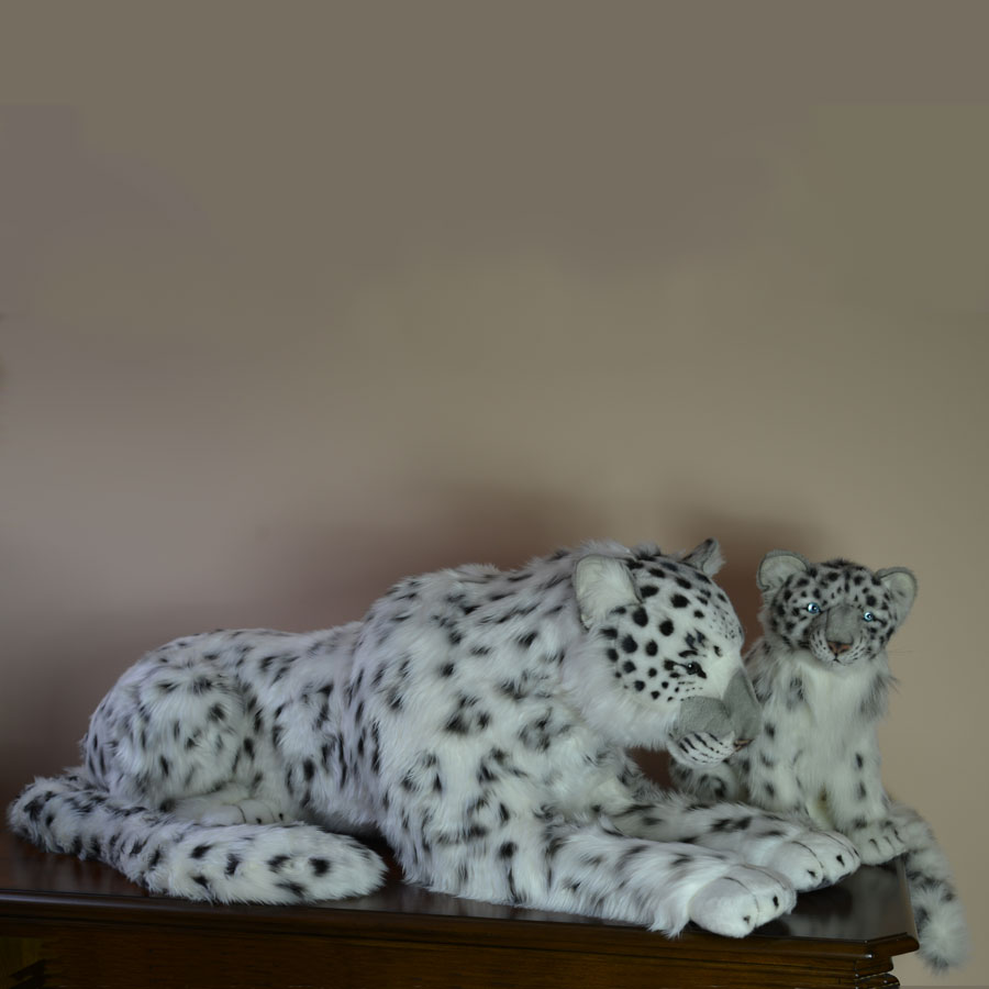 Hansa Plush Snow Leopard Mama And Cub