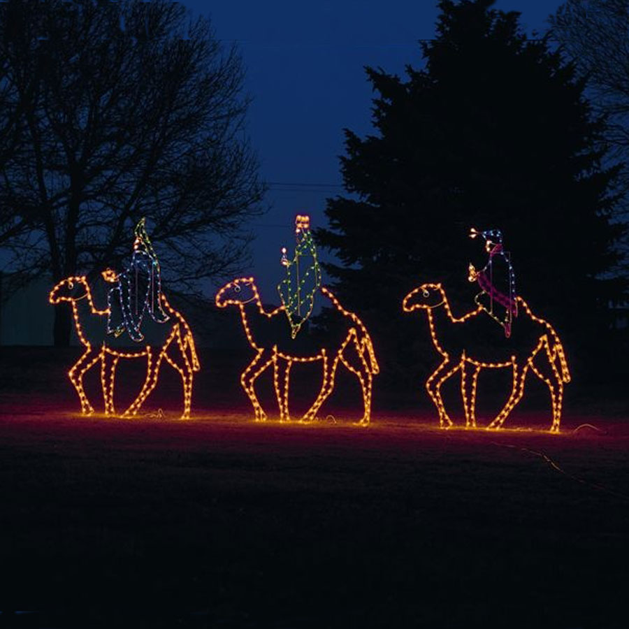 Nativity C7 Led Light Display 10 Ft Three Kings On Camels