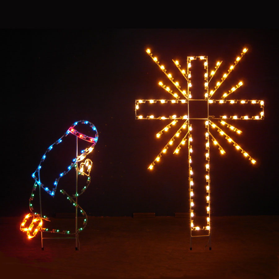 Lighted Shepherd Boy and Cross