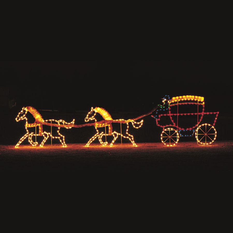 Horse and Carriage Light Display