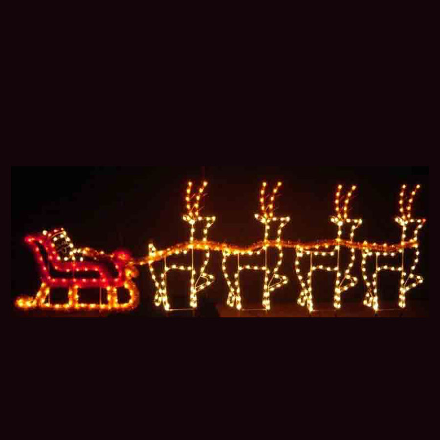 Santa Sleigh Reindeer C7 Led Light Display 30 Ft W
