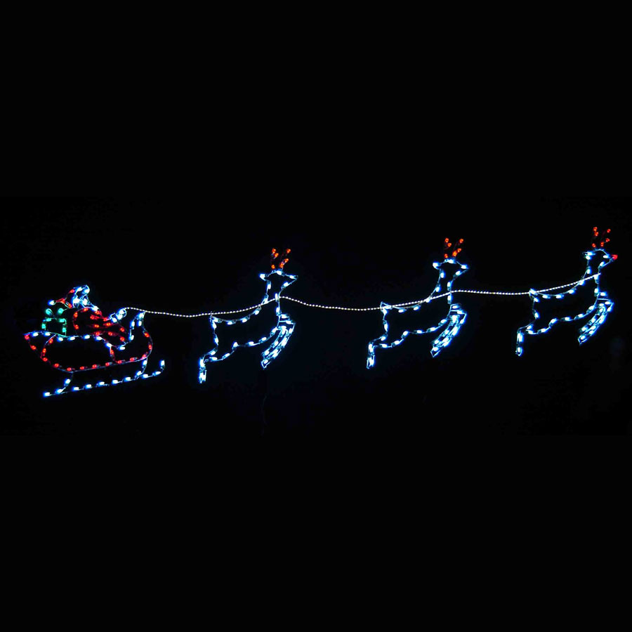 Santa Sleigh Reindeer C7 Led 16 8 Ft W Santa Sleigh Lights