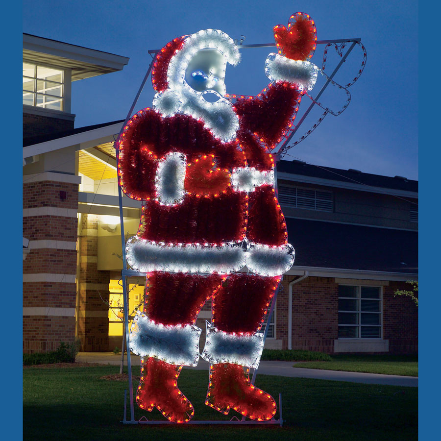 Garland waving santa c7 led light display 17 ft h for Large christmas decorations
