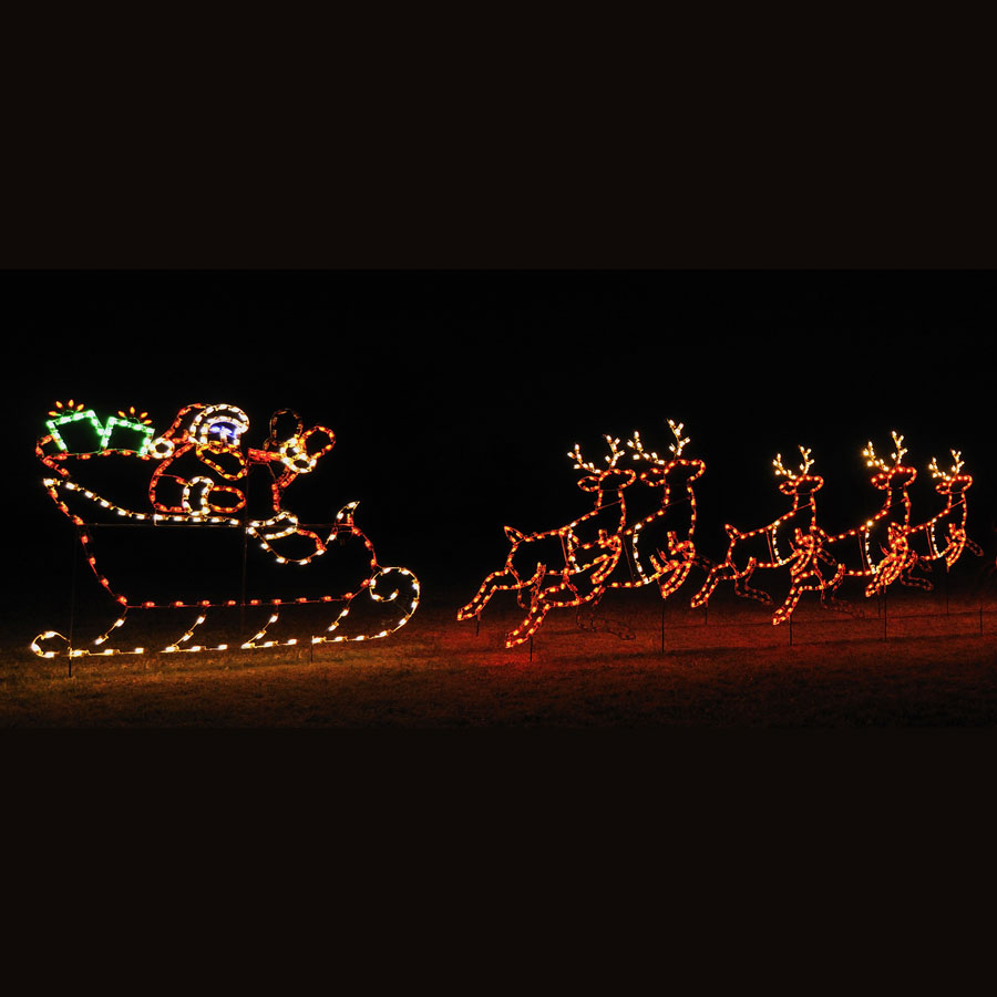 Animated led santa sleigh 5 reindeer display 30 39 w - Large bulb exterior christmas lights ...
