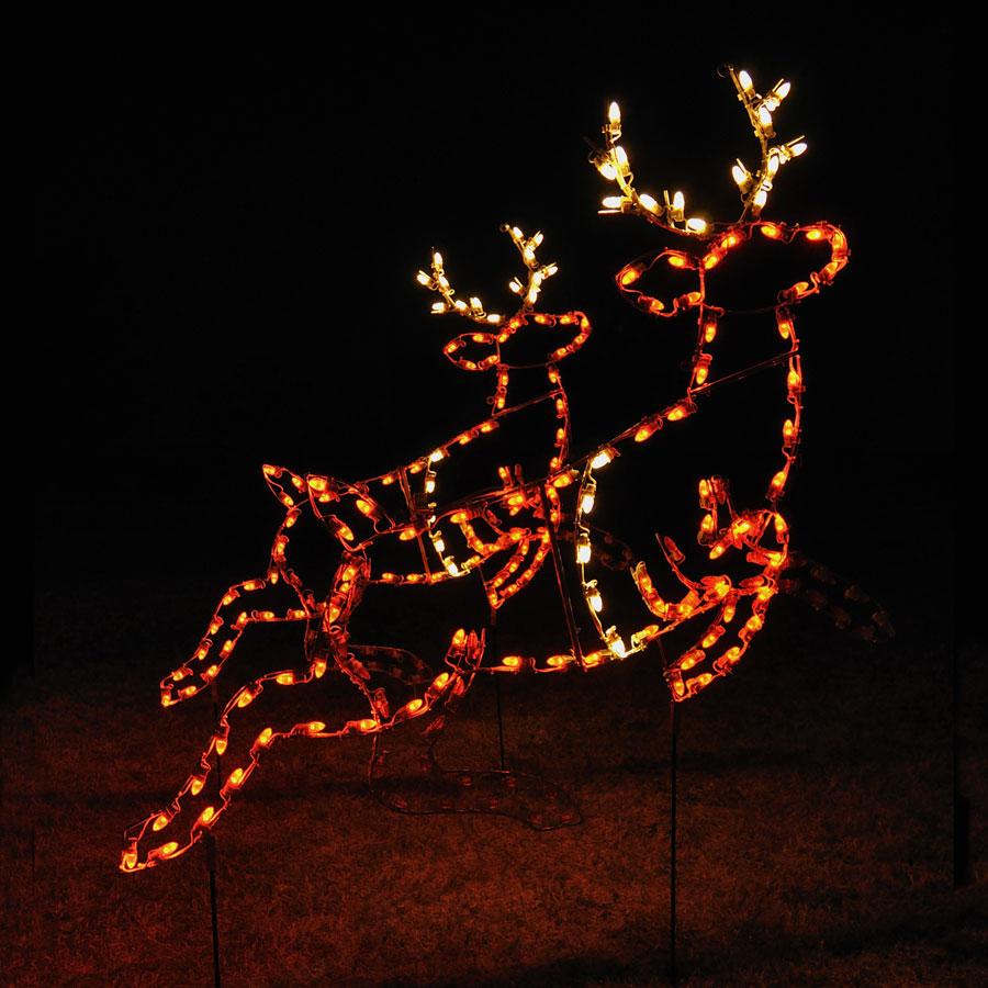 120in Wide Giant Santa Sleigh Two Reindeer Set: Animated LED Reindeer Pair Light Display
