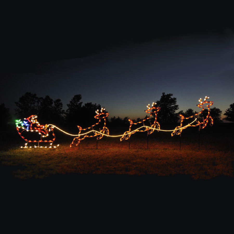 Santa sleigh reindeer c led light display