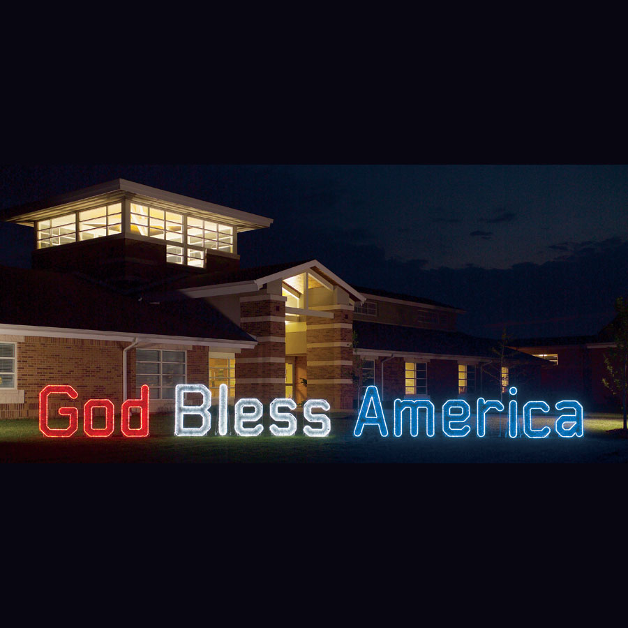 god bless america led  garland light display