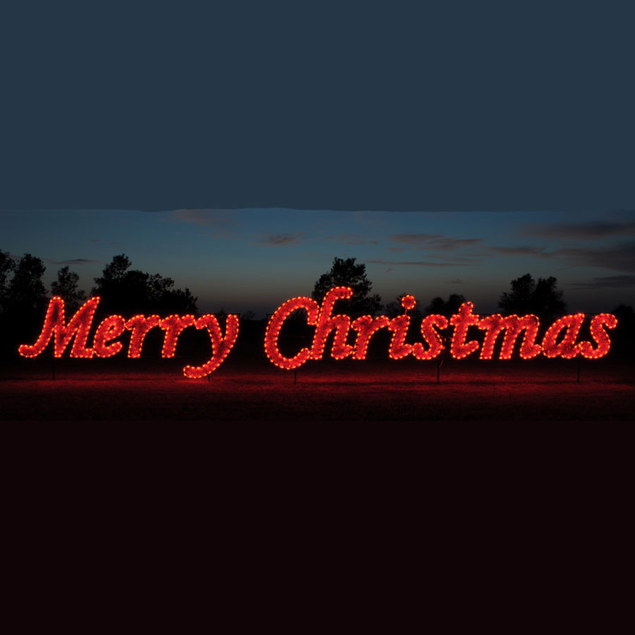 42' Red Merry Christmas Commercial LED Light Display