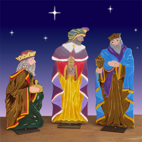 Set Of 3 Metal Christmas Carolers Outdoor Yard Display: Life Size Three Kings 2D Display 62in.H