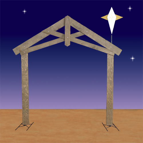 Christmas Stable Background.Life Size Nativity Stable With Star 2d Display 94in H