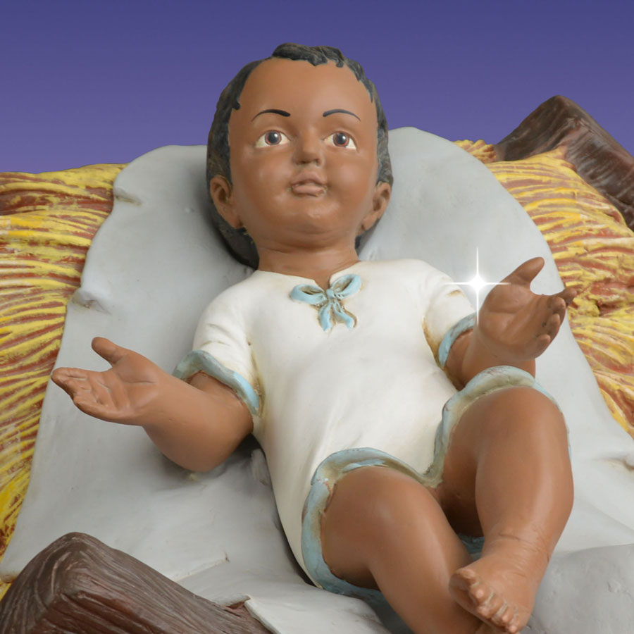 African American Baby Jesus In A Manger