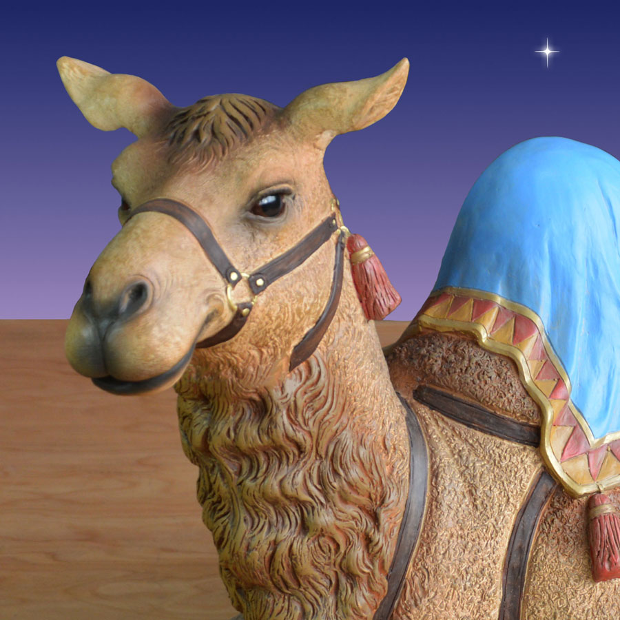 Detail shot of Christmas nativity camel